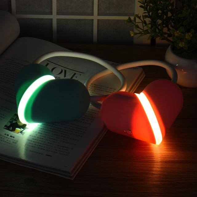 Rechargablloving Cabeza libro lámpara Eléctrica touch on/off Sueño amante forma hongo de La Lámpara LED Lámpara de escritorio de La Lámpara Led Luces de La Noche de diy