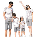Free Shipping New Summer striped Family Matching Outfits cotton mother Girl father Boy clothes sets T shirt + shorts Pants Gray