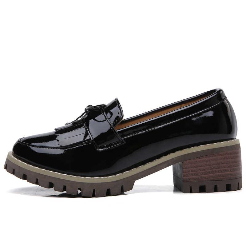 8e84dc9f O16U las mujeres planos de las mujeres zapatos de borla nudo mocasines de  charol de tacón Zapatos de barco de las mujeres zapatillas mulas zapatos ...