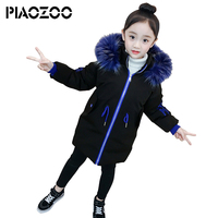 High quality girls fashion 2018 Thick Warm Down Jackets long style warm girl coats winter Hooded waistband coat for children P20