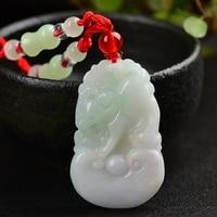 Natural jadeite Chinese zodiac pendant Zodiac cattle transshipment protective Jade pendant necklace pendant Send a certificate