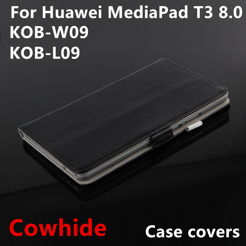 Case Cowhide For Huawei Mediapad T3 8.0 Protective Smart Cover Genuine Leather kob-w09 l09 Tablet Cases Protector Sleeve covers cover case for huawei mediapad m3 youth lite 8 cpn w09 cpn al00 8 tablet protective cover skin free stylus free film