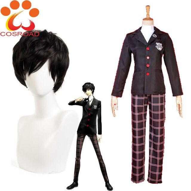 Cosroad Anime Persona 5 Akira Kurusu Cosplay Costumes Men Women Coat Kurusu Akira School Uniform Akira Kurusu Cosplay Wigs