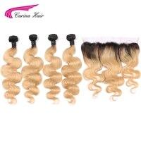 Carina 1b27 цвет Малайзия Remy натуральные волосы Связки с фронтальной средства ухода за кожей волна Ombre мёд светлые волосы уха до уха синтетически