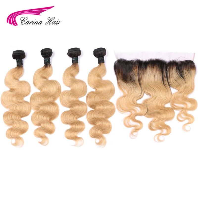 Carina 1b27 Couleur Malaisie Remy de Cheveux Humains Bundles avec Frontale Vague de Corps Ombre Honey Blonde Cheveux avec L'oreille à L'oreille dentelle Frontale
