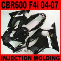 Injection molded fairings set for HONDA CBR600 2004-2007 all glossy black fairing kit CBR 600 F4i 04 05 06 07 motobike BG42