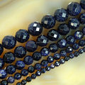 "4 6 8 10 12mm Faceted Blue Sand Stone Round Beads 15.5"" Pick Size Free Shipping-F00105"
