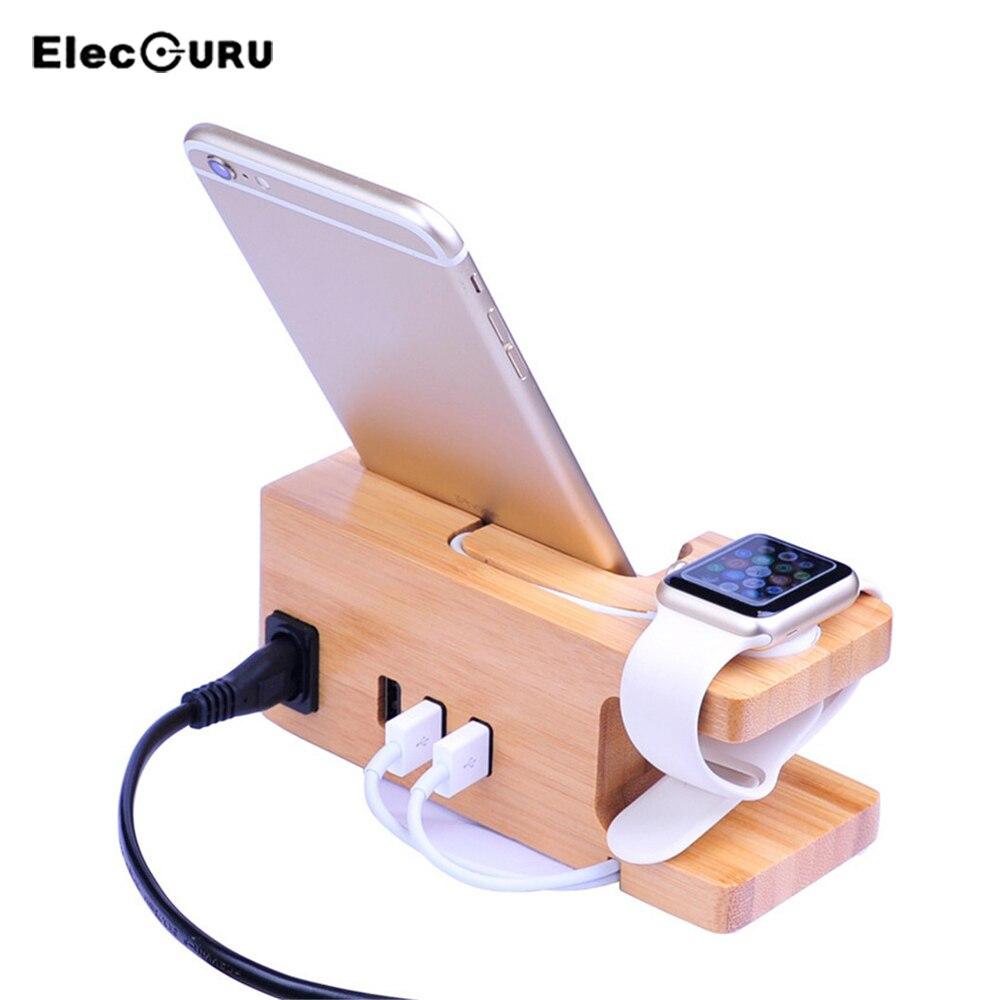 Puidust laadimise dokk iPhone'ile ja kellale 3 USB-porti Laadija Kell Telefonipesa hoidja Apple Watchile / iPhone X 8 7 6 Plus 6S