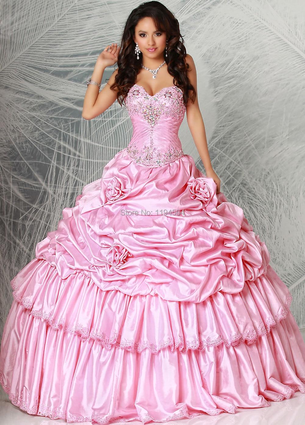 Año nuevo vestido de la princesa vestidos del Quinceanera rosa para ...