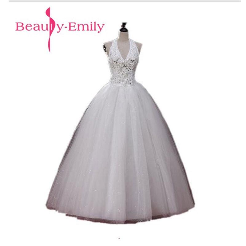 Beauty Emily Real Photo Korean Cheap Long Wedding Dresses 2019 Women Halter Floor Length Long Lace Wedding Party Bridal Dresses