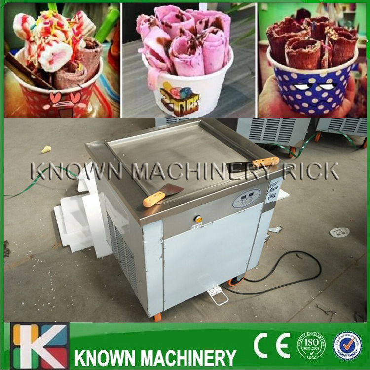Hohe effizienz CE zertifiziert 220 v/110 v einzigen platz fried ice pan rolle maschine mit kupfer kondensator (freies verschiffen durch meer)