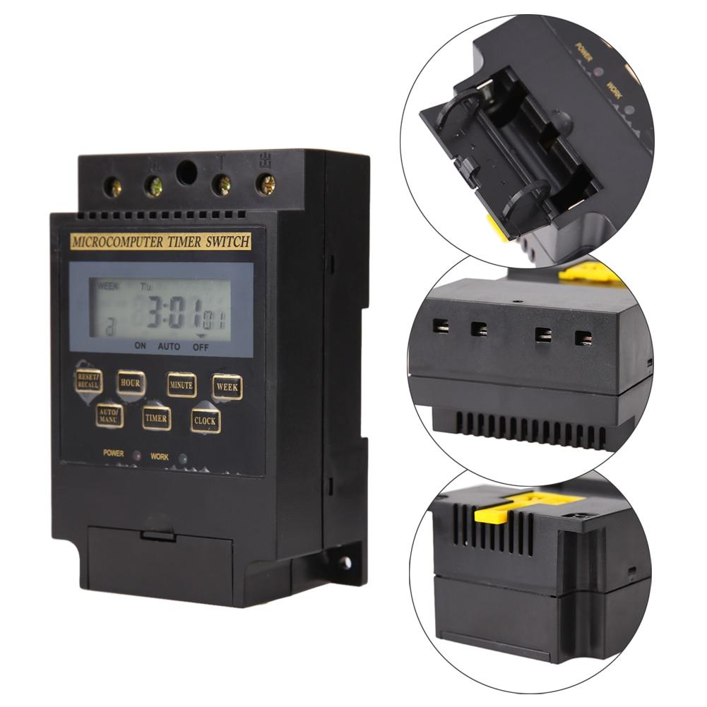 1PC Digital LCD Microcomputer timer switch AC 220V 25A cycle microcomputer time controlled switch waterproof English Version