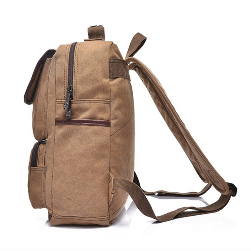 AOLAILUD New Style Canvas Men Backpack For 15 inches Laptop Large Capacity Students Shoulder Backpacks Casual Vintage Male Bags
