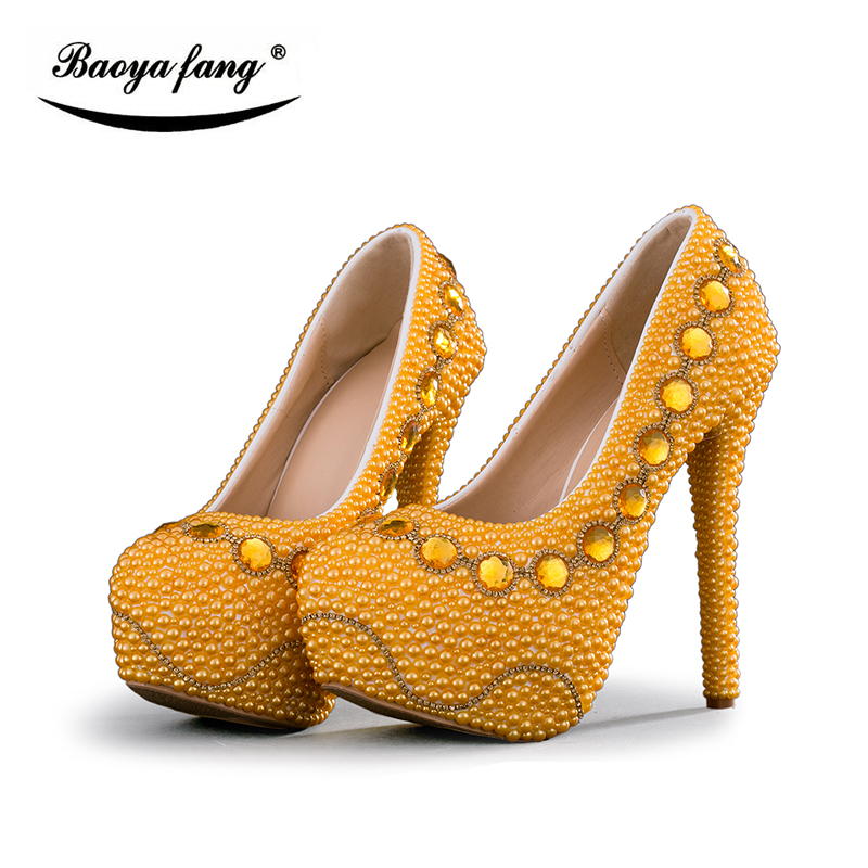 BaoYaFang Golden Beads Pearl womens wedding shoes Bride High heels shoes  ladies big size party dress shoes woman Platform shoes 630f327f48f2