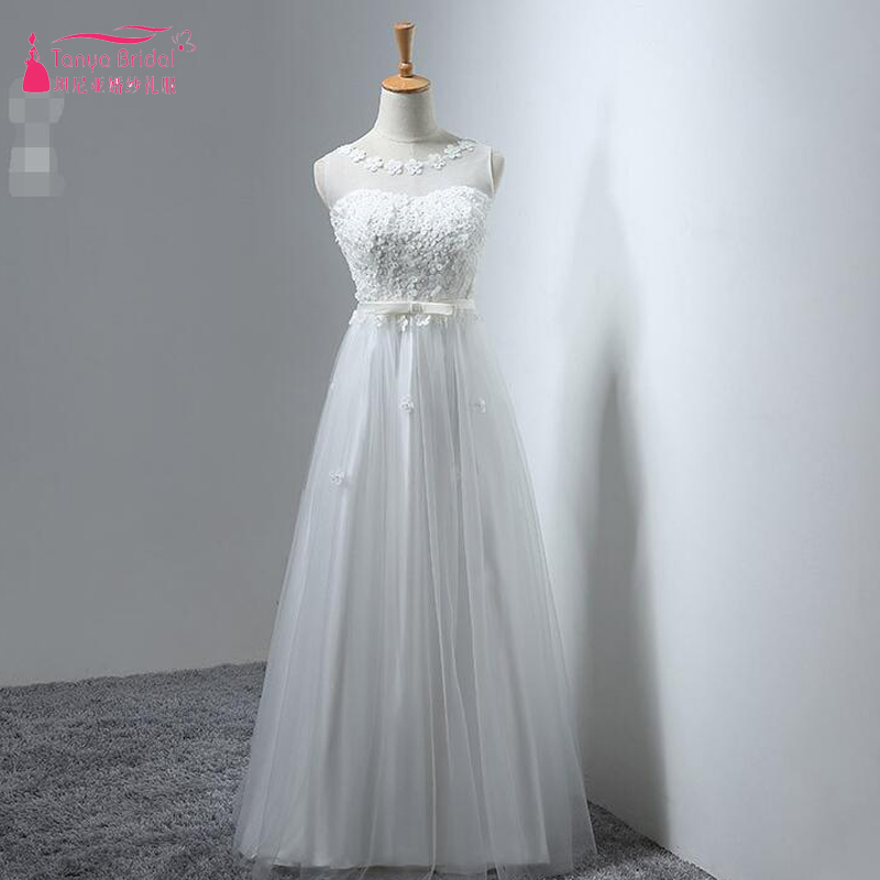 White Long Tulle   Prom     Dresses   Sheer Neck Sleeveless Cheap Evening Formal Gowns In Stock Beach Vestido De Noiva ZP051