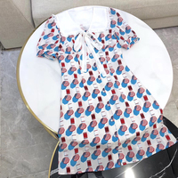 Summer Dress Women Fashion Print Mini Dress for Lady 2019 New Short Sleeve Silk Women Dress Casual