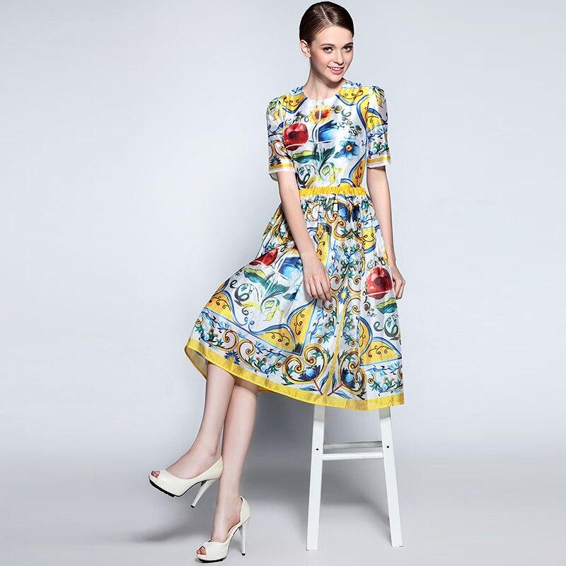 Retro Fashion Dress 2017 Summer Porcelain Print Short Sleeve