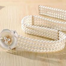 2016 new fashion crystal pearl elastic metal belt vintage waistband big  gems wide belt for women 3a917d886bc9