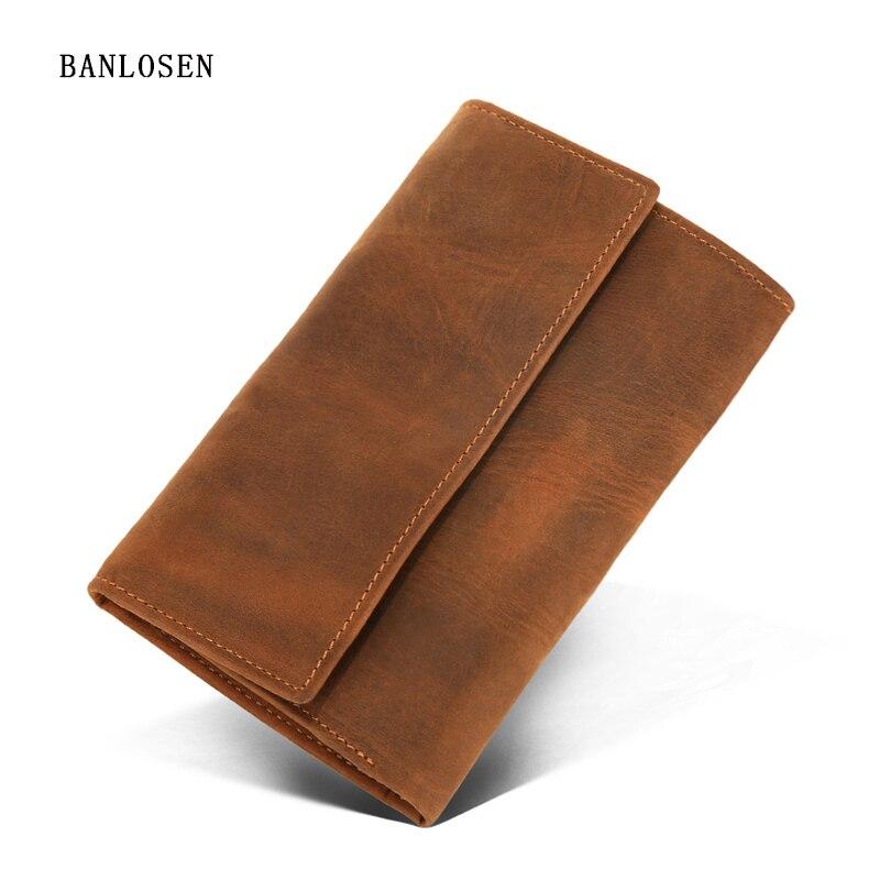Crazy horse leather men wallets Vintage genuine leather