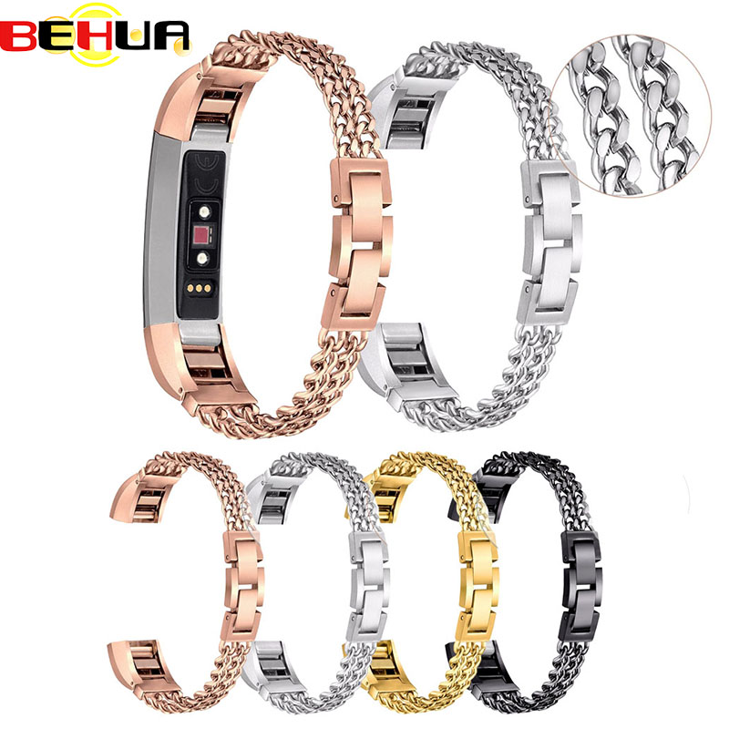 Behua 1pcs Watch Band for Fitbit alta Stainless Steel Double Chains Bracelet Band Metal Watch wrist Bands smartwatch New Arrival