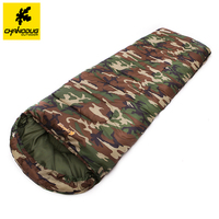 Chanodug Camouflage Camping Sleeping Bag 3 Season Cotton Filling Envelope Style Army Hooded Military Thickening Sleeping