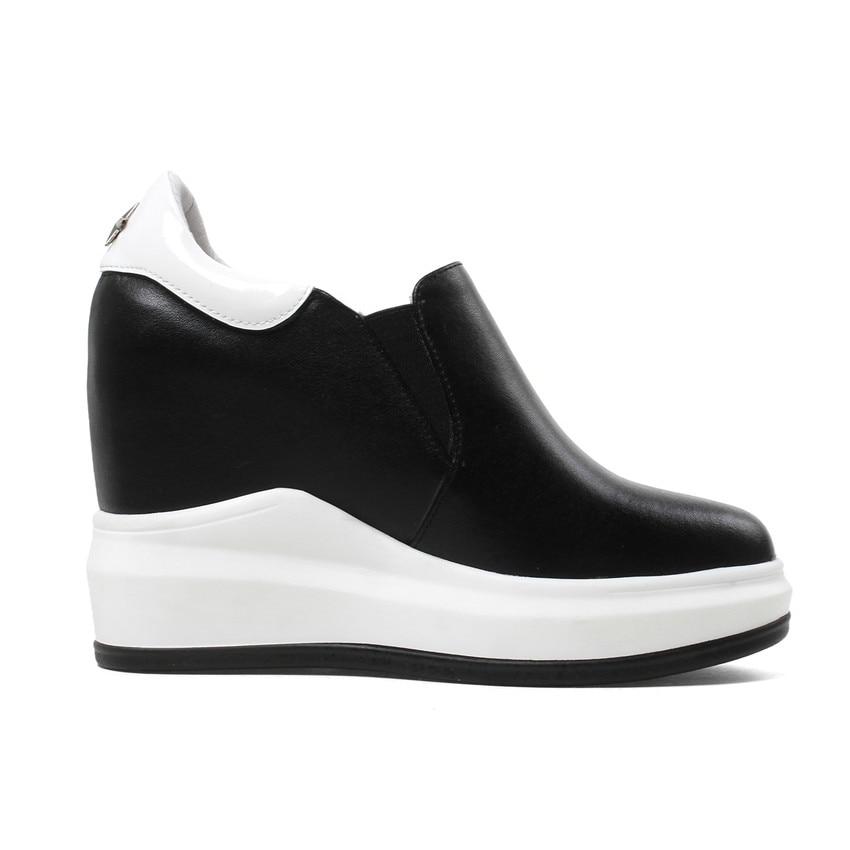 Chaussures Plat La Marche Plus De blanc Hauteur Taille Wedge Des Casual En Mocassins Femmes Appartements Sur Noir 40 Glissement Croissante Véritable 33 Cales Cuir wqYZCxU6Ca