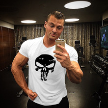 Punisher print tracksuit t shirt muscle shirt Trends in 2016 fitness cotton brand clothes for men bodybuilding Tee large XXL