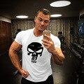 Treino de impressão Punisher t camisa camisa do músculo Tendências em 2016 algodão roupas de marca para os homens de fitness musculação T grande XXL