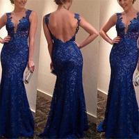 Сексуальное женское платье с открытой спиной на бретельках темно-синего цвета vestidos Русалка кружевное платье с v-образным вырезом для вечери...