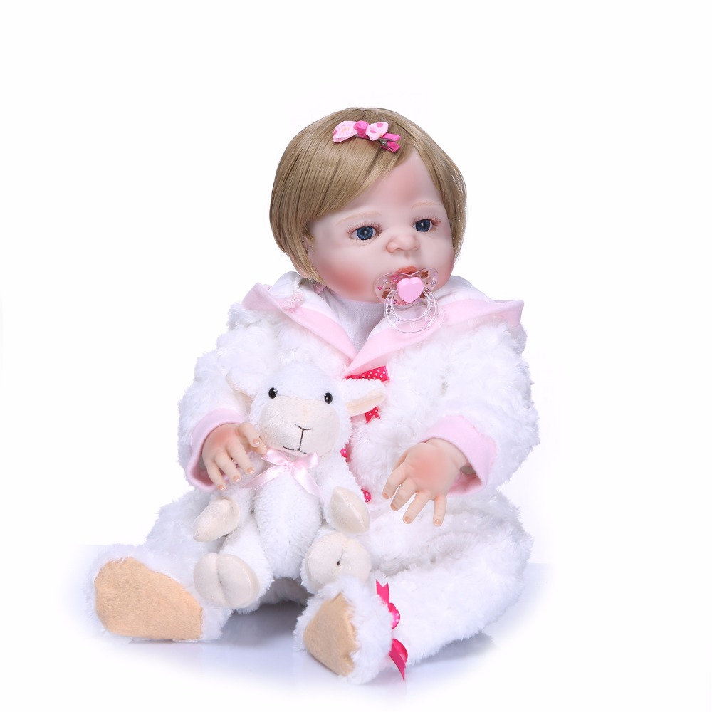 55cm 22inches Full Body Silicone Reborn Girl Baby Doll Toy Lifelike Newborn Babies Doll Cute Birthday