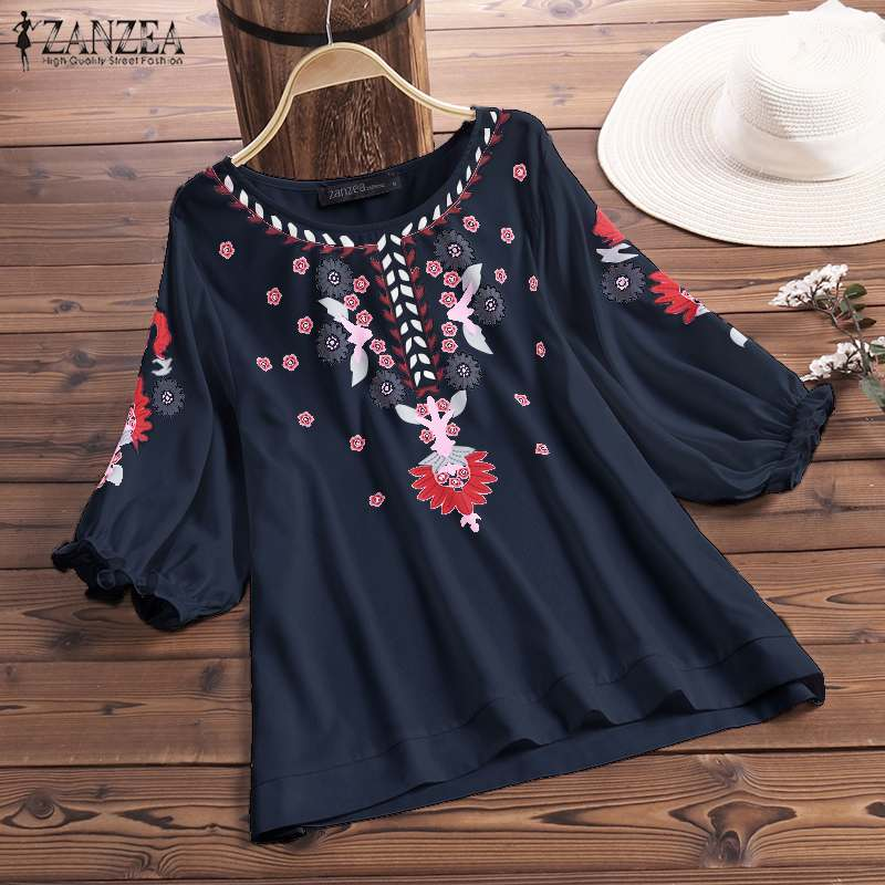 2020 ZANZEA Women's Blouse Summer Ethnic Floral Print Shirt Bohemian Lantern Sleeve Blusas Casual Tunic Tops Loose Chemise Mujer