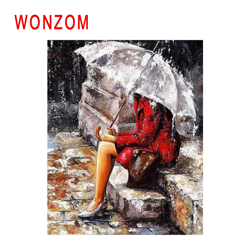 WONZOM Umbrella Woman Diy Painting By Numbers Rain Steps Oil Painting Cuadros Decoracion Acrylic Paint On Canvas Modern Wall Art in Painting Calligraphy from Home Garden