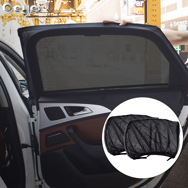 Ceyes 2Pcs/lot Car Styling Auto Accessories Sun Shade UV Protect Curtain Summer Window Sunshade Side Window Mesh Sun Visor Films