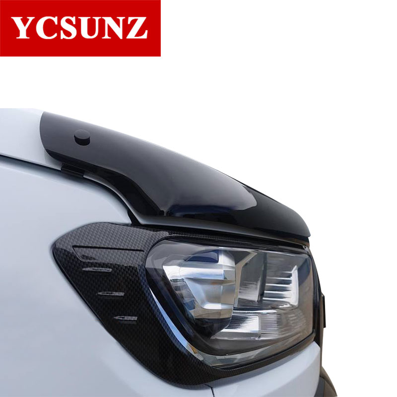 2016 2017 Carbon Fiber Color Headlights Cover For Ford Ranger T7 2016 Accessories Exterior