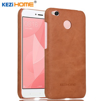 KEZIHOME Frosted Genuine Leather Hard Back Cover For Xiaomi Redmi 4X 4 X 5 0 Phone