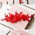 Coreano accesorios nupciales rojos flores de encaje hecho a mano tocado cabeza de flor cheongsam vestido de boda rhinestone accesorios para el cabello
