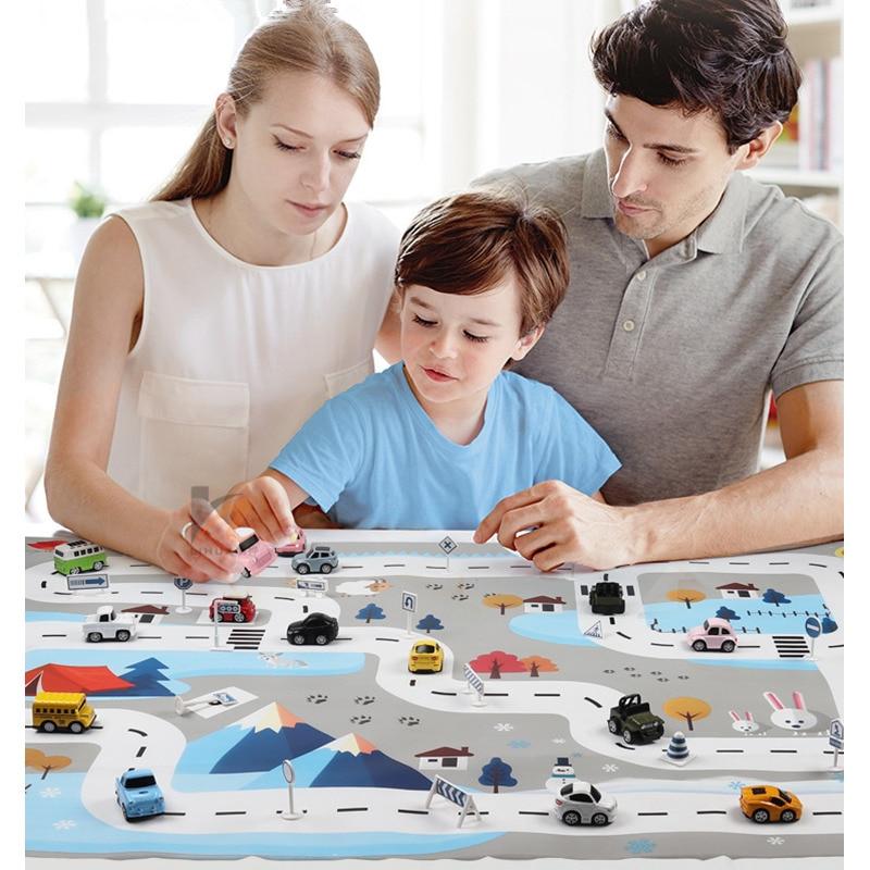 HTB1gamfXMmH3KVjSZKzq6z2OXXaV 83*57cm/130*100CM Large City Traffic Car Park Play Mat Waterproof Non-woven Kids Playmat Pull Back Car Toys for Children's Mat