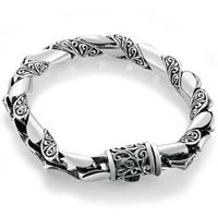 Pure Silver S925 Tang Dynasty Flower Chain & Link Bangle Bracelet 925 Sterling Vintage Jewelry Brand New Original Men (HY25A)