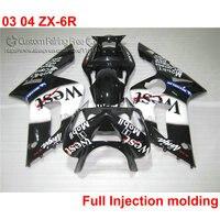 Injection fairing kit for Kawasaki ZX6R 2003 2004 Ninja 636 fairings set 03 04 ZX 6R white black West full body kits ZK92
