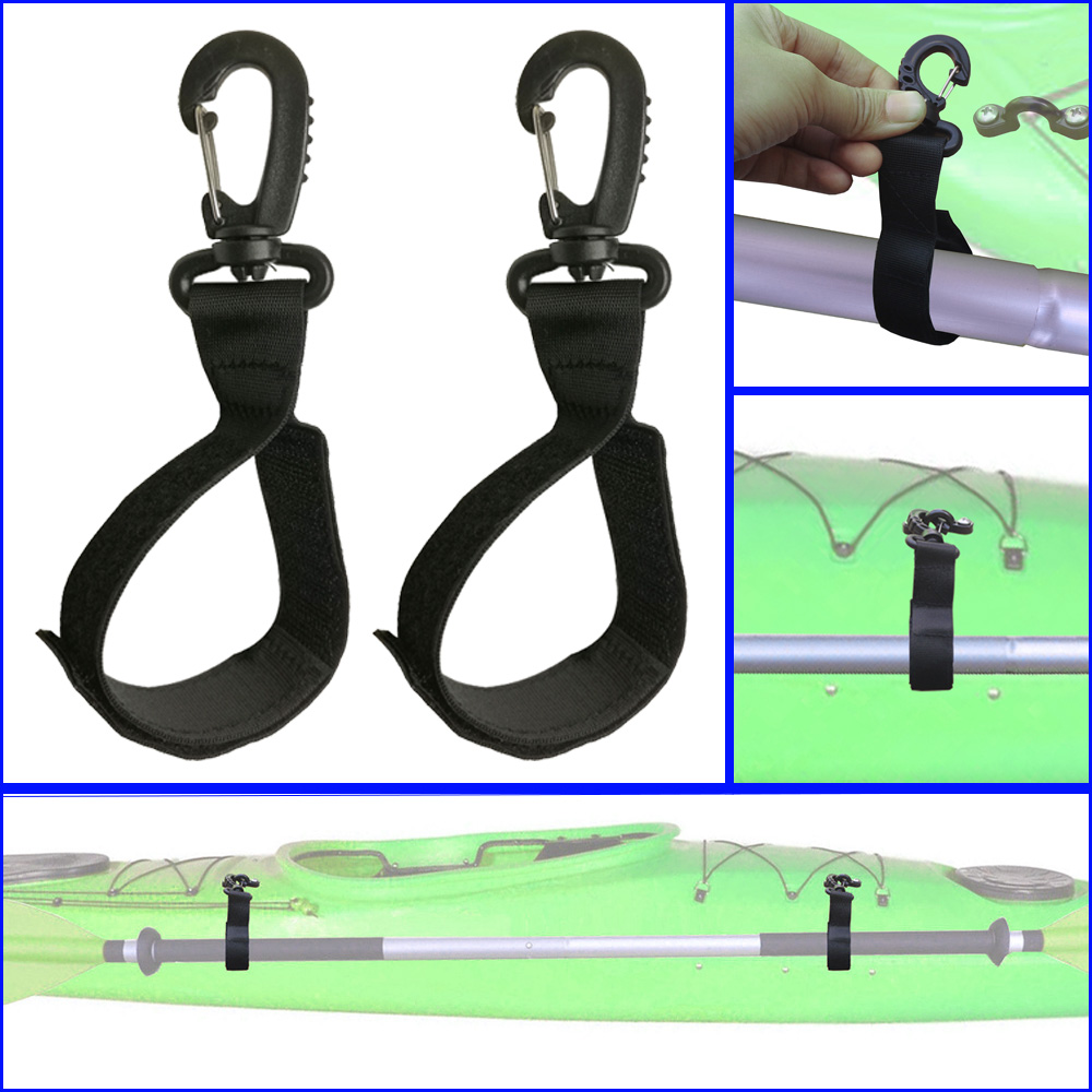 2PCS Kayak Paddle Keeper Oar Webbing Strap Holder Snap Clip For SUP Paddleboard Inflatable Boat Paddle