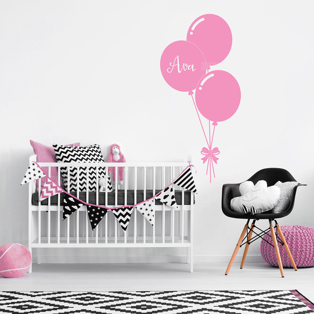 Custom Name Personalise Wall Decals Balloon Baby Girl Bedroom Wall Sticker Nursery Decal Sweet Vinyl Stickers Wallpaper Kid Z265 ...
