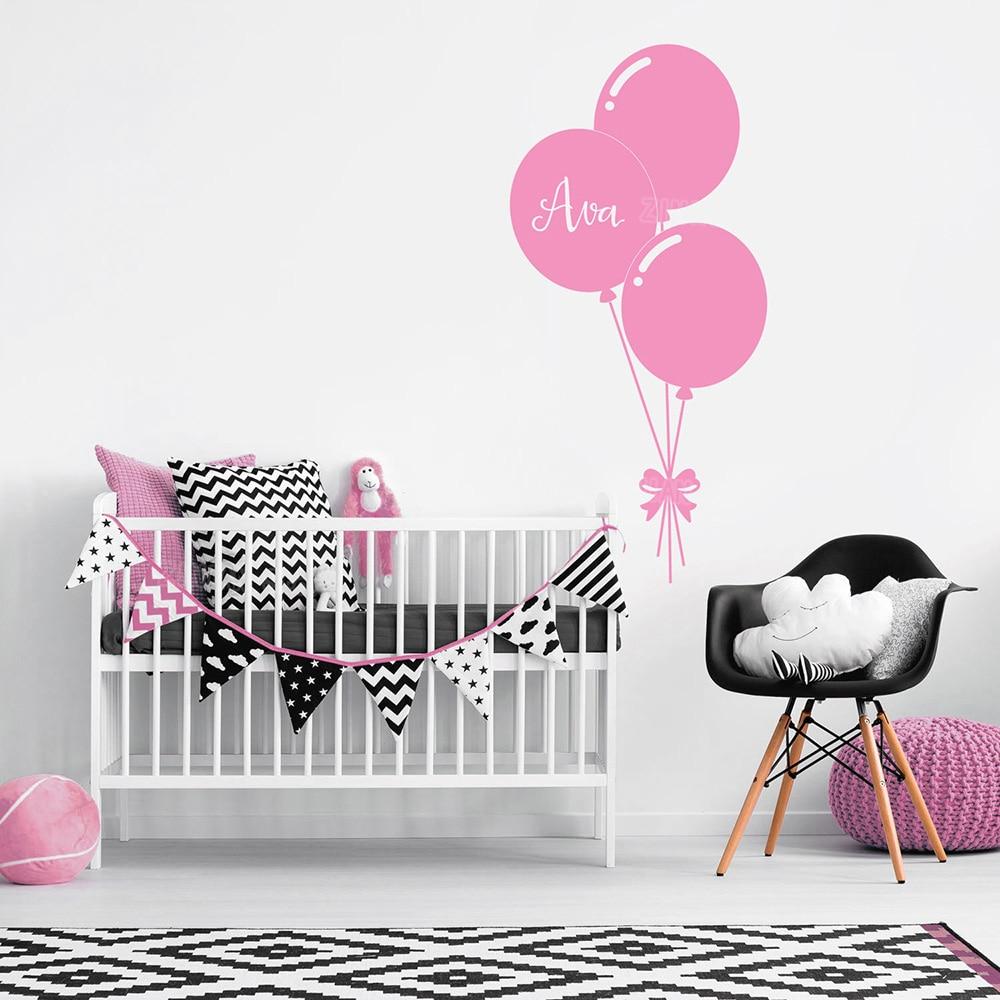Custom Name Personalise Wall Decals Balloon Baby Girl Bedroom Wall Sticker Nursery Decal Sweet Vinyl Stickers Wallpaper Kid Z265 ...