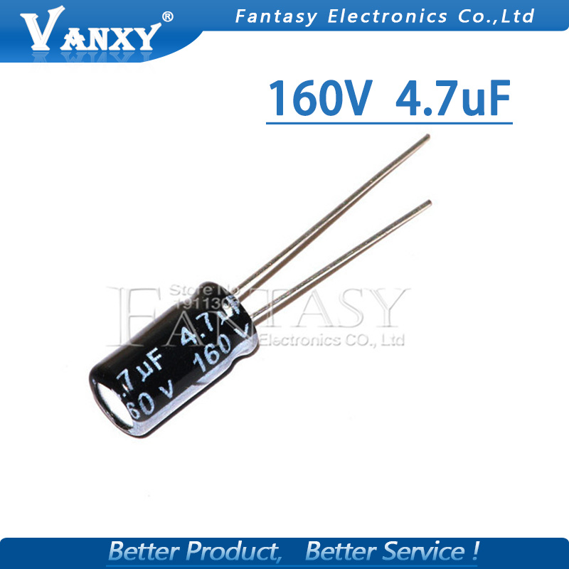 20PCS Higt Quality 160V4.7UF  6*11mm 4.7UF 160V 6*11 Electrolytic Capacitor