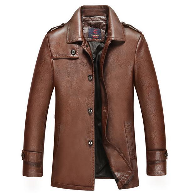 Nuevo 2015 Otoño Invierno Ropa de Cuero chaqueta de cuero Genuino Casual de NEGOCIOS de Moda Hombre Delgado del viento Hombres Tops PRENDAS de ABRIGO