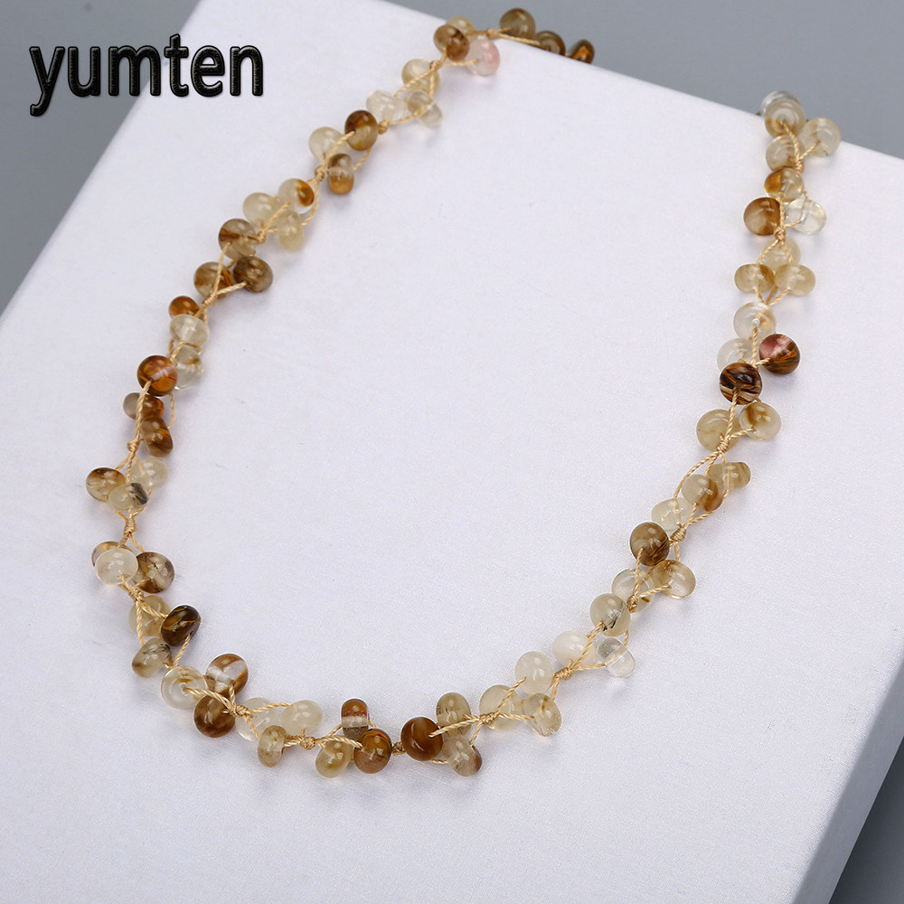 Nature Quartz Rutilated Beads Women Statement Necklace Ladies Body Jewellery Beautiful Short Necklace Party Fine Jewelry