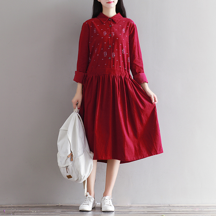 2017 Fashion Spring Japanese Korea Style Loose Dress Lady Corduroy Dress For Girl Winter Women