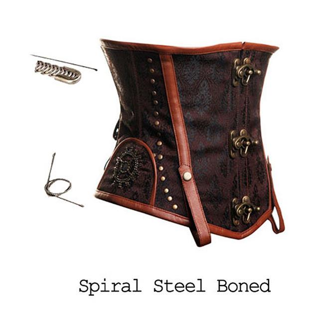Envío libre Brown Faux Leather Brocade Underbust deshuesado acero Steampunk Victorian Corset