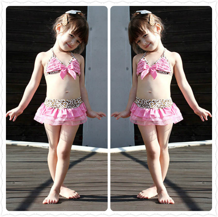 Leopard Pink Kids Girls Swimwear Cute Toddler Swimsuits Baby Year Bathing Suit Girl three Pieces Bikini - baby-kids store