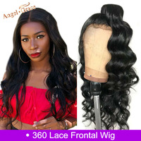 Angel Grace Hair Brazilian Body Wave 360 Lace Frontal Wig Human Hair Extensions Pre Plucked With Baby Hair Remy Hair for Women