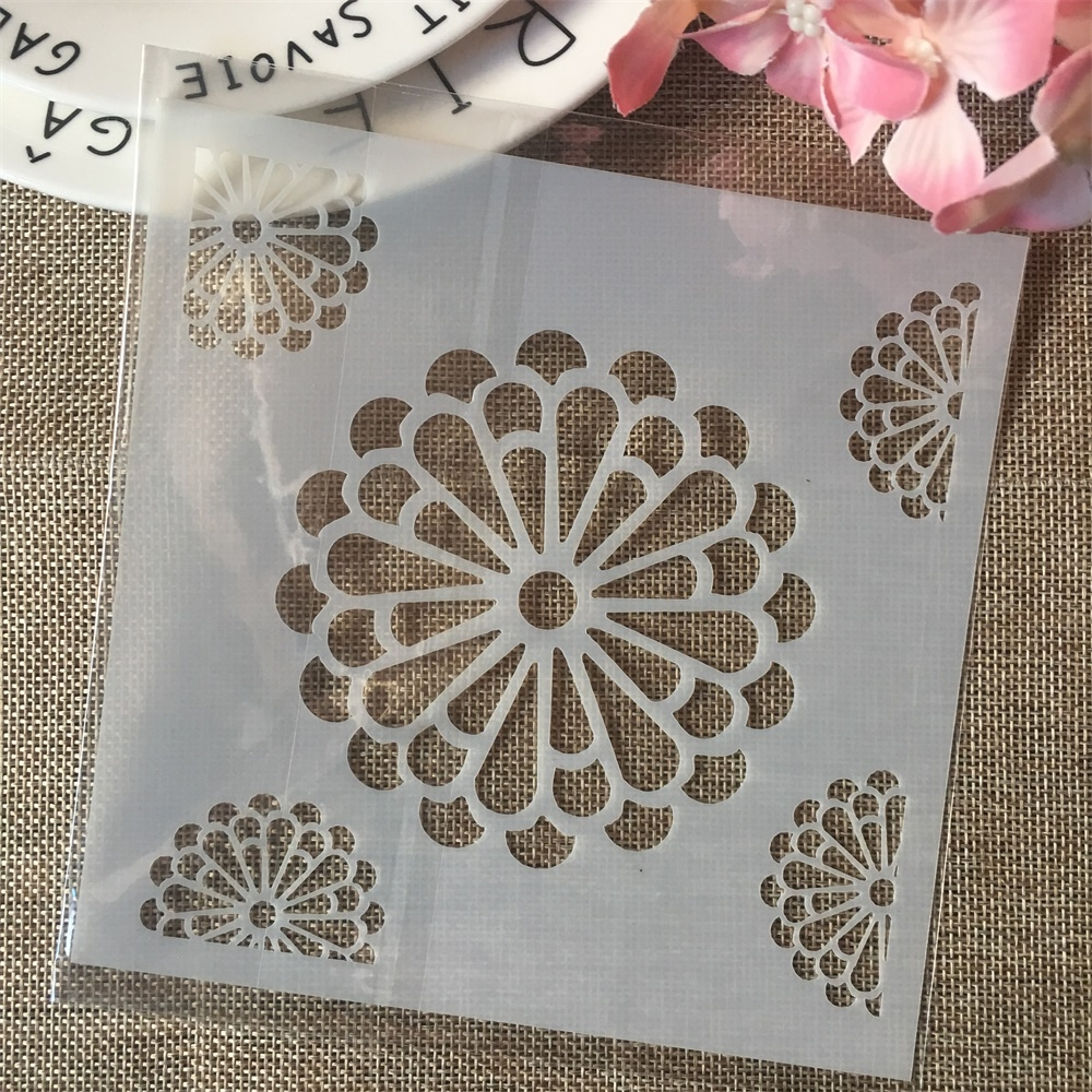 6*6inch Daisy Flower DIY Layering Stencils Painting Scrapbook Coloring Embossing Album Decorative Card Template